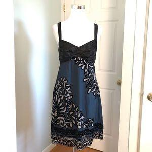 Hale Bob Silk Blend Empire Waist Velvet Bead Dress
